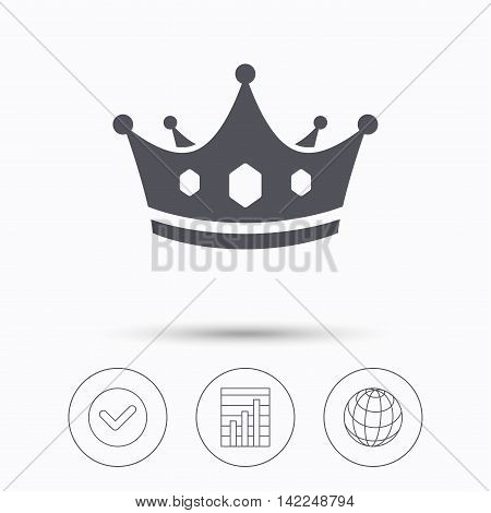 Crown icon. Royal throne leader symbol. Check tick, graph chart and internet globe. Linear icons on white background. Vector