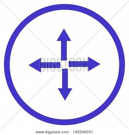 Expand Arrows vector icon. Style is flat rounded iconic symbol, expand arrows icon is drawn with violet color on a white background.