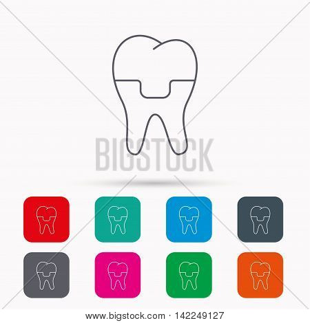 Dental crown icon. Tooth prosthesis sign. Linear icons in squares on white background. Flat web symbols. Vector
