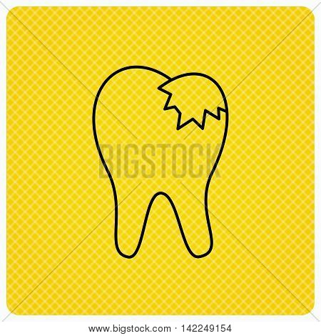 Dental fillings icon. Tooth restoration sign. Linear icon on orange background. Vector