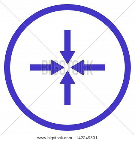 Impact Arrows vector icon. Style is flat rounded iconic symbol, impact arrows icon is drawn with violet color on a white background.