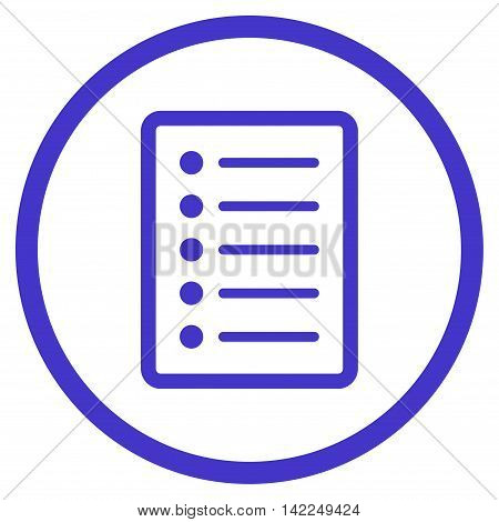 List Page vector icon. Style is flat rounded iconic symbol, list page icon is drawn with violet color on a white background.
