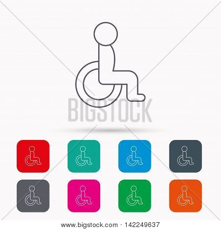 Disabled person icon. Human on wheelchair sign. Patient transportation symbol. Linear icons in squares on white background. Flat web symbols. Vector