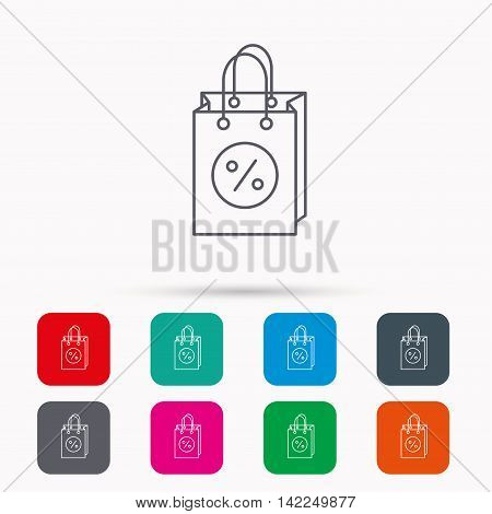 Shopping bag icon. Sale and discounts sign. Supermarket handbag symbol. Linear icons in squares on white background. Flat web symbols. Vector