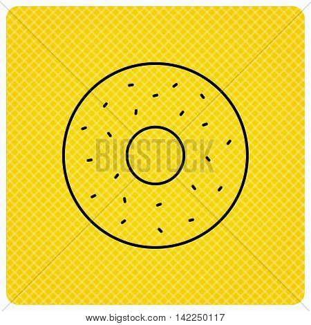 Donut icon. Sweet doughnuts sign. Breakfast dessert symbol. Linear icon on orange background. Vector