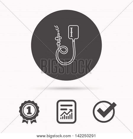 Drop counter icon. Medical procedure sign. Report document, winner award and tick. Round circle button with icon. Vector