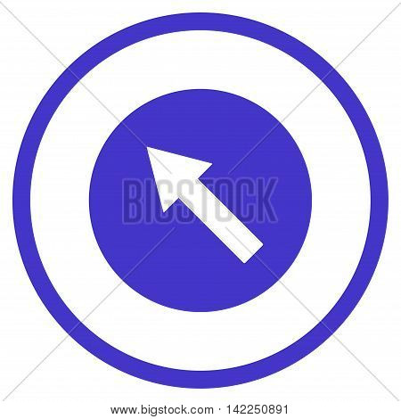 Up-Left Rounded Arrow vector icon. Style is flat rounded iconic symbol, up-left rounded arrow icon is drawn with violet color on a white background.