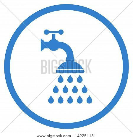 Shower Tap vector icon. Style is flat rounded iconic symbol, shower tap icon is drawn with cobalt color on a white background.