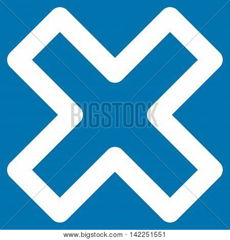 Delete X-Cross vector icon. Style is outline flat icon symbol, white color, blue background.