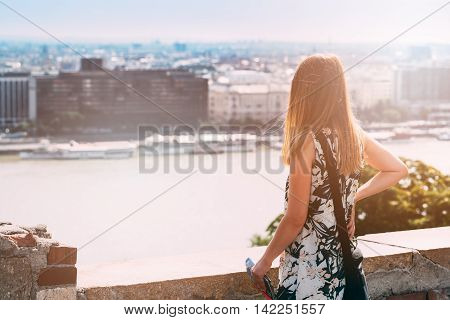 Young Woman Looking On City - Budapest