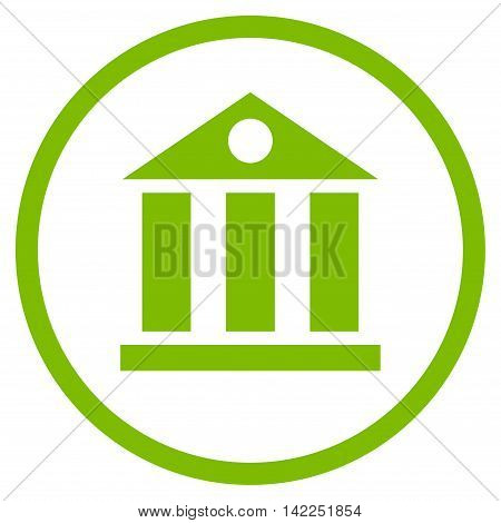 Bank Building vector icon. Style is flat rounded iconic symbol, bank building icon is drawn with eco green color on a white background.