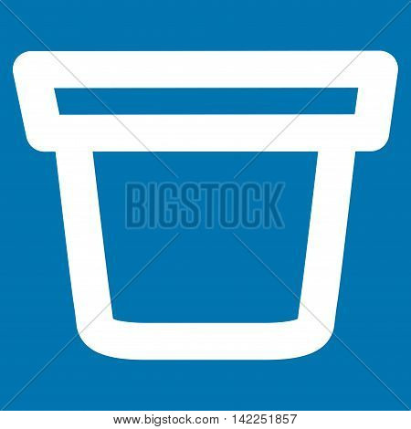 Pail vector icon. Style is outline flat icon symbol, white color, blue background.