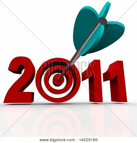 Year 2011 In Red Letters With Bullseye Arrow