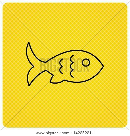 Fish with fin and scales icon. Seafood sign. Vegetarian food symbol. Linear icon on orange background. Vector
