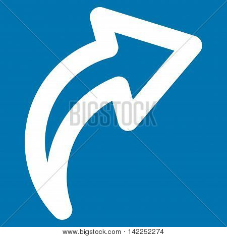 Redo vector icon. Style is outline flat icon symbol, white color, blue background.