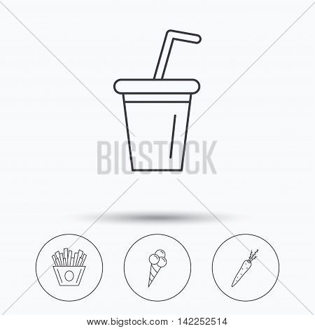 Chips fries, ice cream and soft drink icons. Carrot linear sign. Linear icons in circle buttons. Flat web symbols. Vector