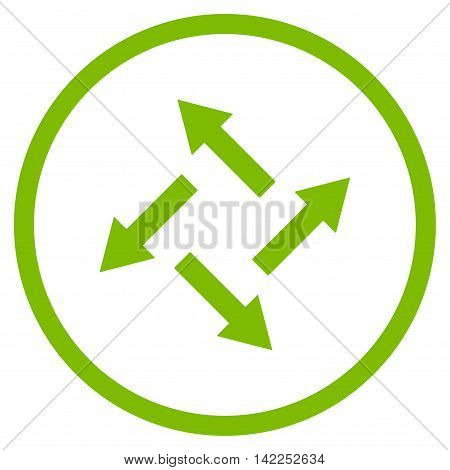 Centrifugal Arrows vector icon. Style is flat rounded iconic symbol, centrifugal arrows icon is drawn with eco green color on a white background.