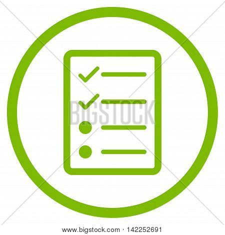 Checklist Page vector icon. Style is flat rounded iconic symbol, checklist page icon is drawn with eco green color on a white background.
