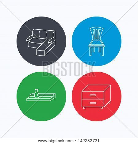 Corner sofa, nightstand and chair icons. Wall shelf linear sign. Linear icons on colored buttons. Flat web symbols. Vector