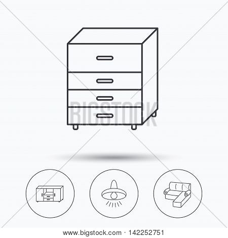 Corner sofa, ceiling lamp and chest of drawers icons. Furniture linear signs. Linear icons in circle buttons. Flat web symbols. Vector