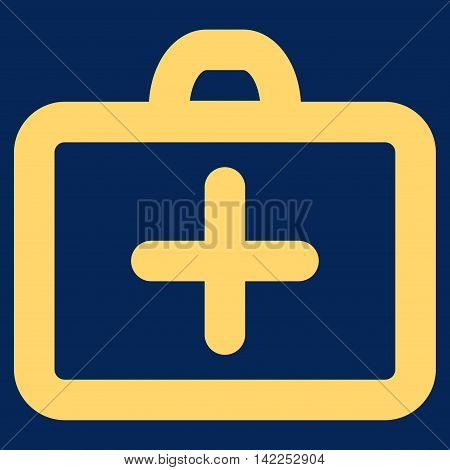 First Aid vector icon. Style is outline flat icon symbol, yellow color, blue background.