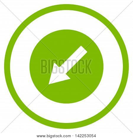 Down-Left Rounded Arrow vector icon. Style is flat rounded iconic symbol, down-left rounded arrow icon is drawn with eco green color on a white background.