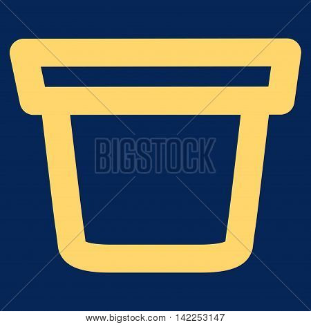 Pail vector icon. Style is linear flat icon symbol, yellow color, blue background.