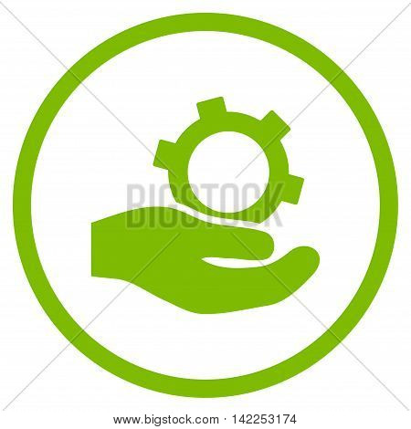 Engineering Service vector icon. Style is flat rounded iconic symbol, engineering service icon is drawn with eco green color on a white background.