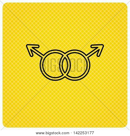 Gay couple icon. Homosexual sign. Linear icon on orange background. Vector