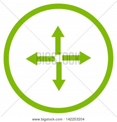 Expand Arrows vector icon. Style is flat rounded iconic symbol, expand arrows icon is drawn with eco green color on a white background.