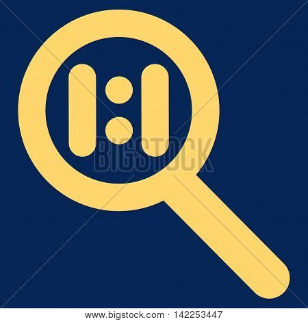 Zoom Actual Scale vector icon. Style is stroke flat icon symbol, yellow color, blue background.