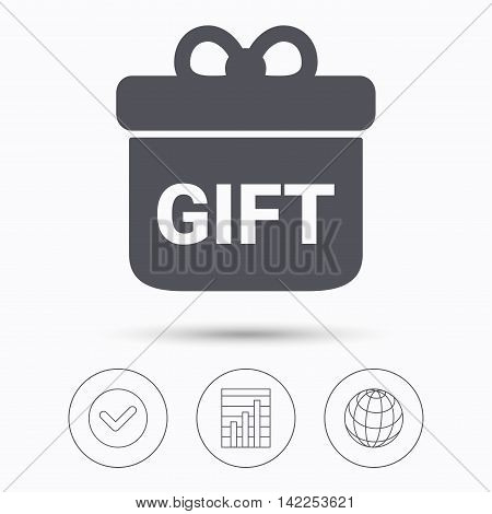 Gift icon. Present box with bow symbol. Check tick, graph chart and internet globe. Linear icons on white background. Vector