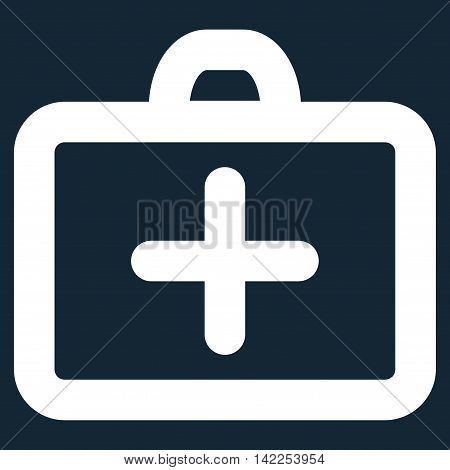 First Aid vector icon. Style is stroke flat icon symbol, white color, dark blue background.
