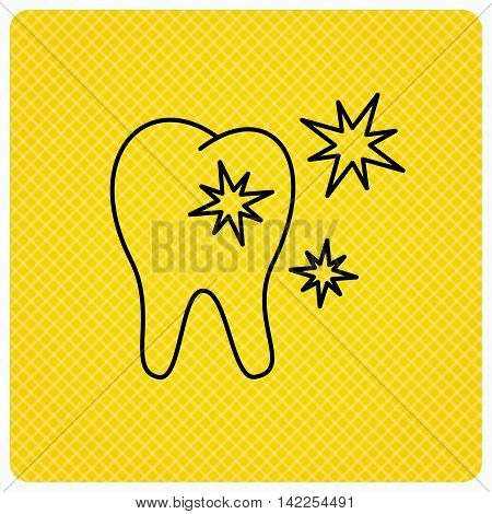 Healthy tooth icon. Dental protection sign. Linear icon on orange background. Vector