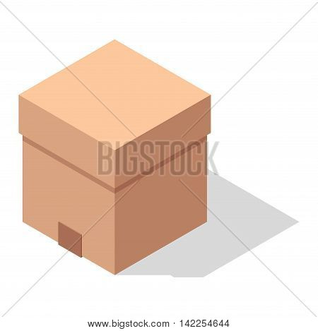 Vector gift box cardboard container packaging. Gift box carton package paper. Gift box celebration holiday warehouse receive icon