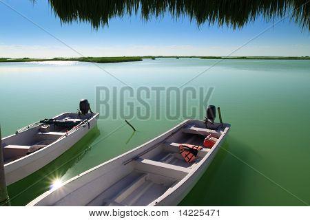 Boats In Pier Mangrove Lagoon In Mayan Riviera