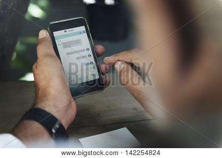 Man Using Smart Phone Texting Messaging Concept