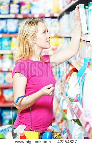 woman shopping toiletries and household cleaning supplies