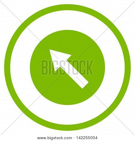 Up-Left Rounded Arrow vector icon. Style is flat rounded iconic symbol, up-left rounded arrow icon is drawn with eco green color on a white background.