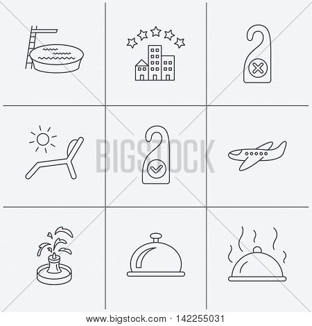 Hotel, swimming pool and beach deck chair icons. Reception bell, restaurant food and airplane linear signs. Do not disturb and clean room flat line icons. Linear icons on white background. Vector