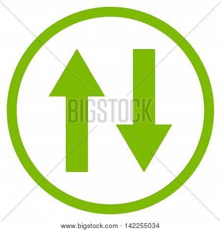 Vertical Flip Arrows vector icon. Style is flat rounded iconic symbol, vertical flip arrows icon is drawn with eco green color on a white background.