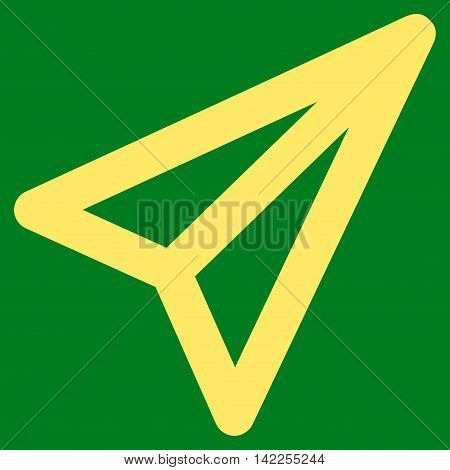 Freelance vector icon. Style is outline flat icon symbol, yellow color, green background.