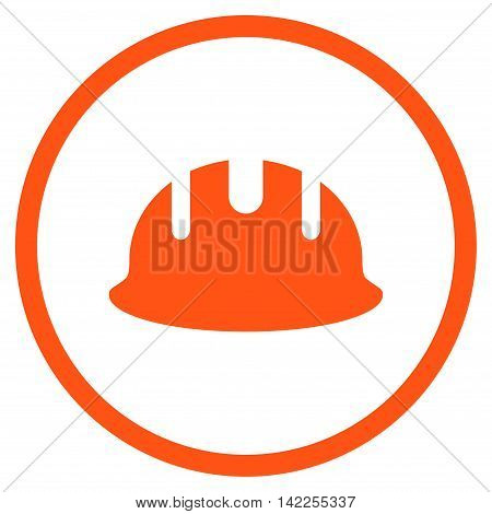 Builder Hardhat vector icon. Style is flat rounded iconic symbol, builder hardhat icon is drawn with orange color on a white background.