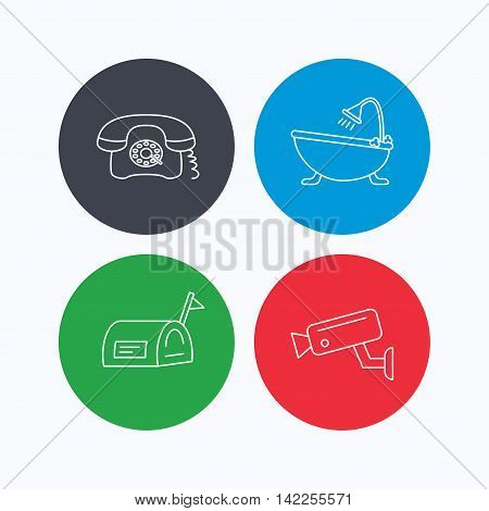 Retro phone, video camera and mailbox icons. Bath linear sign. Linear icons on colored buttons. Flat web symbols. Vector
