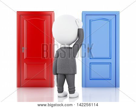 3d illustration. Business people and two doors doubtful. Choice concept on white background