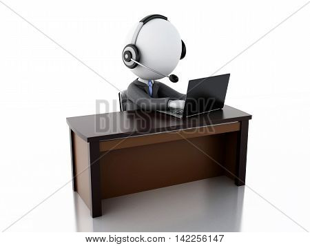3d illustration. Businessman with a Headphones with Microphone and laptop. Employees working in a call center. Business concept
