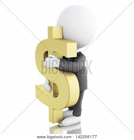 3d illustration. Businessman with a dollar sign. Business concept. Isolated white background