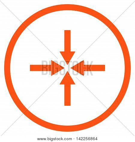 Impact Arrows vector icon. Style is flat rounded iconic symbol, impact arrows icon is drawn with orange color on a white background.