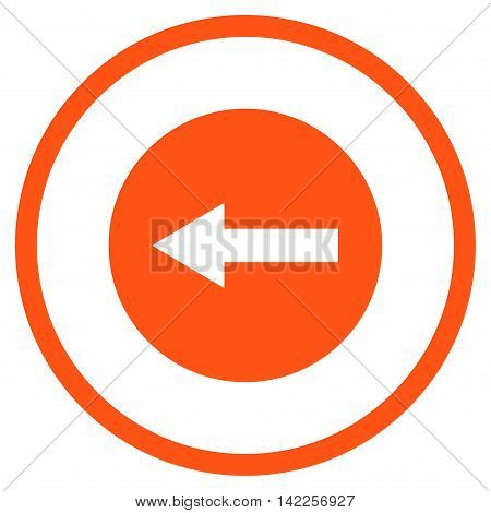 Left Rounded Arrow vector icon. Style is flat rounded iconic symbol, left rounded arrow icon is drawn with orange color on a white background.
