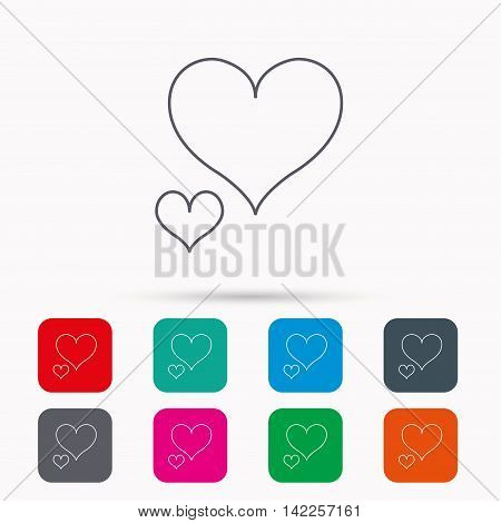 Love hearts icon. Lovers sign. Couple relationships. Linear icons in squares on white background. Flat web symbols. Vector